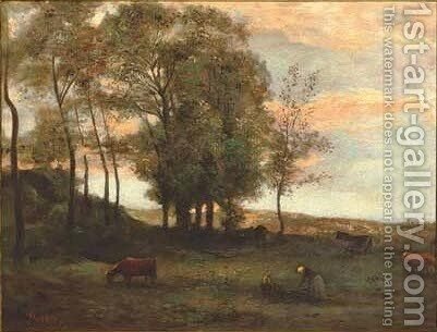 The last light of the day by (after) Charles-Francois Daubigny - Reproduction Oil Painting