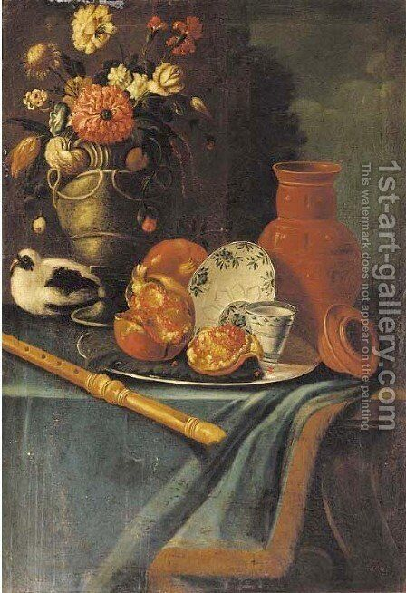 A vase of flowers with a pigeon, a recorder, a jug and a silver tray by (after) Christian Berentz - Reproduction Oil Painting