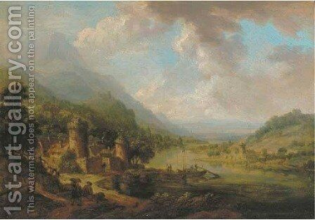 A Rhenish landscape with travellers on a track, a castle beyond by (after) Christian Georg II Schutz Or Schuz - Reproduction Oil Painting