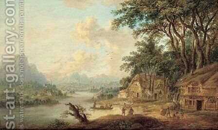 A river landscape with figures by a tavern by (after) Christian Georg II Schutz Or Schuz - Reproduction Oil Painting