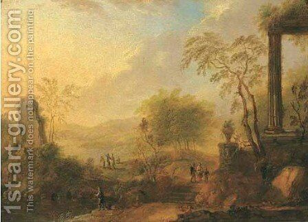 Rhenish landscape with anglers and travellers on sandy path near classical ruins 2 by (after) Christian Georg II Schutz Or Schuz - Reproduction Oil Painting