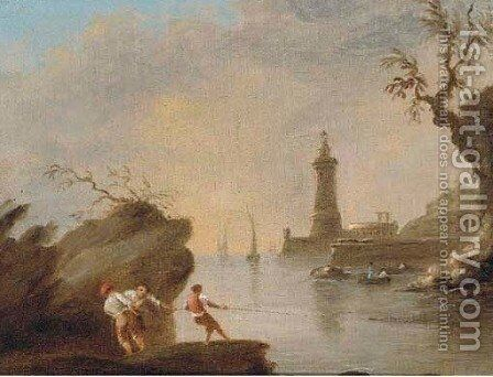 A Mediterranean coastal inlet with fishermen and a lighthouse by (after) Claude-Joseph Vernet - Reproduction Oil Painting