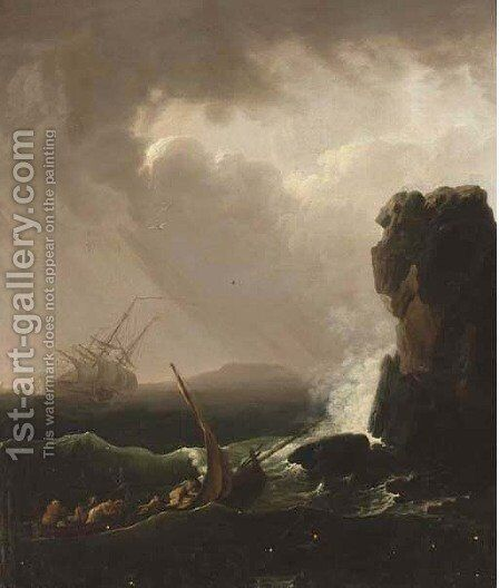 A Mediterranean coastline with shipwreck by (after) Claude-Joseph Vernet - Reproduction Oil Painting