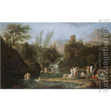Morning, The Bathers by (after) Claude-Joseph Vernet - Reproduction Oil Painting