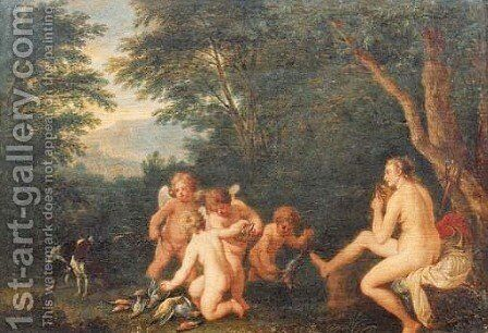 Wooded landscape with Venus and Diana with putti disporting 2 by (after) Cornelis Huysmans - Reproduction Oil Painting