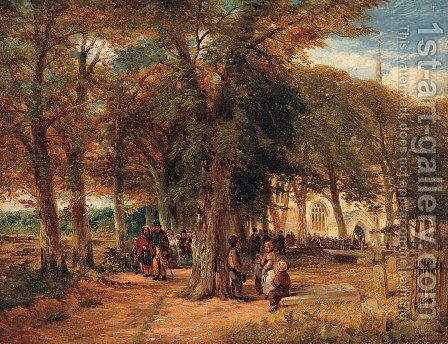 Figures leaving a Church by (after) David Snr Cox - Reproduction Oil Painting