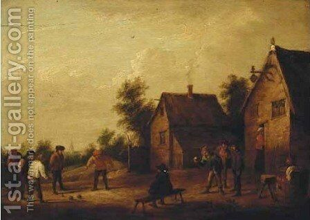 Peasants playing skittles by (after) David The Younger Teniers - Reproduction Oil Painting
