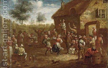 Peasants dancing and merrymaking at a village kermesse by (after) David The Younger Teniers - Reproduction Oil Painting