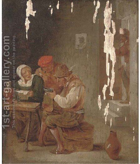 Boors drinking and smoking in a tavern by (after) David The Younger Teniers - Reproduction Oil Painting