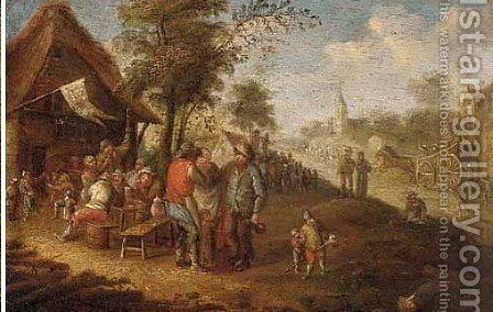 Peasants drinking and carousing at a village kermesse by (after) David The Younger Teniers - Reproduction Oil Painting