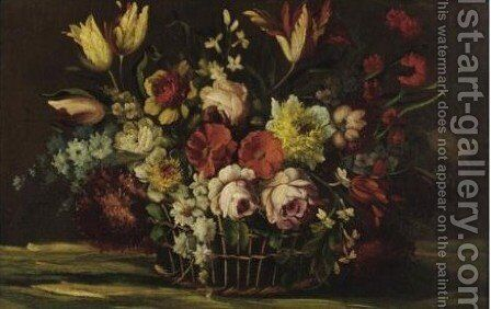 Still Life With Flowers 2 by (after) Dei Fiori (Nuzzi) Mari - Reproduction Oil Painting