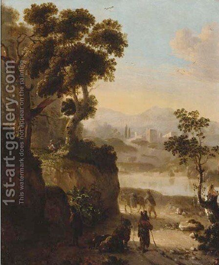 Peasants resting on a track, a river and castle beyond by (after) Dionys Verburgh - Reproduction Oil Painting