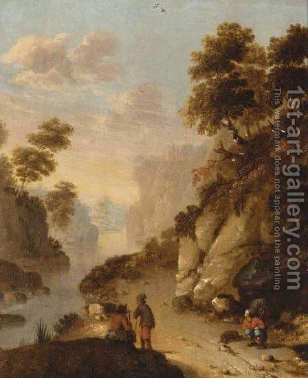 Travellers resting on a track in a rocky river landscape by (after) Dionys Verburgh - Reproduction Oil Painting