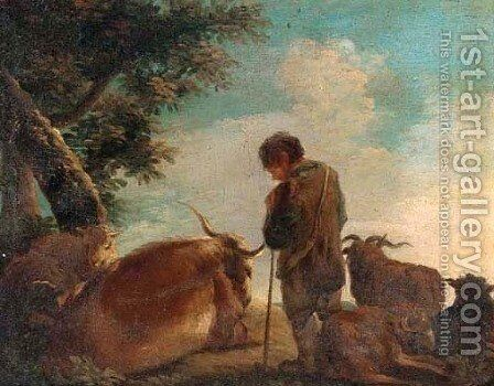 A hilltop with a shepherd and his flock by (after) Domenico Brandi - Reproduction Oil Painting