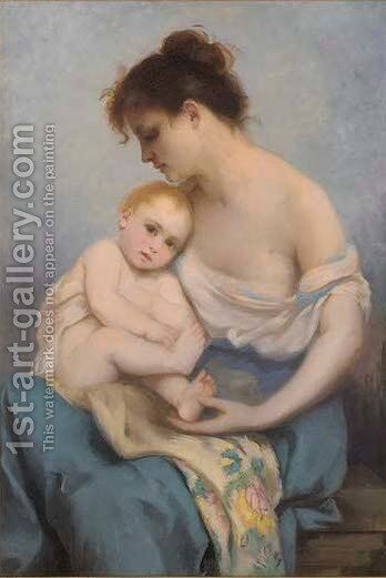 Motherly love by (after) Edward Charles Halle - Reproduction Oil Painting