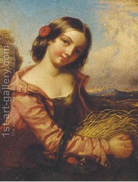 A country beauty by (after) Edward John Cobbett - Reproduction Oil Painting