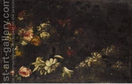 Still Life Of Flowers And Grapes by (after) Elisabetta Marchioni - Reproduction Oil Painting