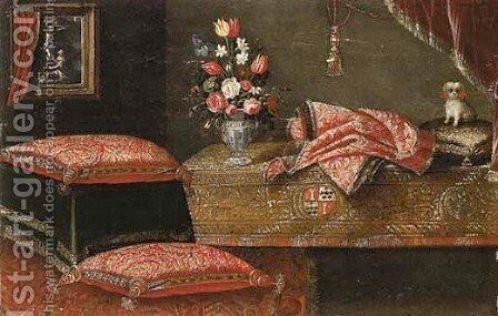 Flowers in vases in sumptuous interiors, decorated with richly embroidered curtains and cushions 2 by (after) Francesco (Il Maltese) Fieravino - Reproduction Oil Painting