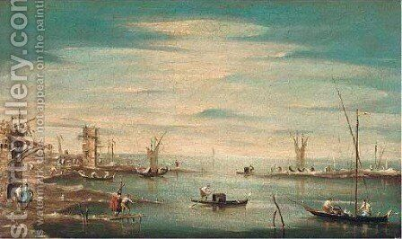 A capricco of the Venetian lagoon with boatmen by (after) Francesco Guardi - Reproduction Oil Painting