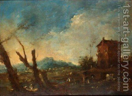 A River Landscape With Figures Before A House, Mountains Beyond by (after) Francesco Guardi - Reproduction Oil Painting
