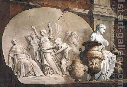 Still Life With A Relief Of The Death Of Cleopatra Together With Vases And Other Antique Statues by (after) Francesco Monti - Reproduction Oil Painting