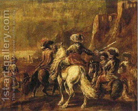 A cavalryman leading his troops to battle by (after) Francesco Simonini - Reproduction Oil Painting