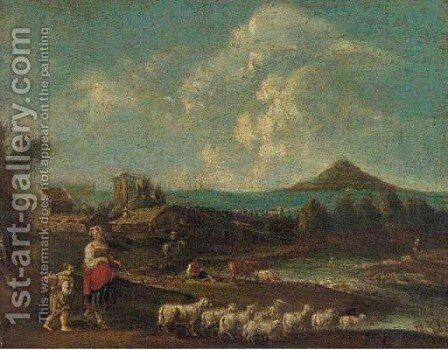 A river landscape with a shepherdess and her flock and other figures by (after) Francesco Zuccarelli - Reproduction Oil Painting