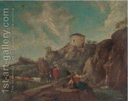 A river landscape with peasants resting by a waterfall by (after) Francesco Zuccarelli - Reproduction Oil Painting