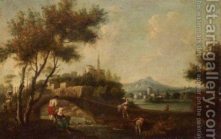 An Extensive Landscape With Figures Fishing Before A Bridge, A Town Beyond by (after) Francesco Zuccarelli - Reproduction Oil Painting