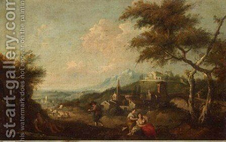 An Extensive Landscape With A Fisherman And Maids Beside A Pool, A Town Beyond by (after) Francesco Zuccarelli - Reproduction Oil Painting