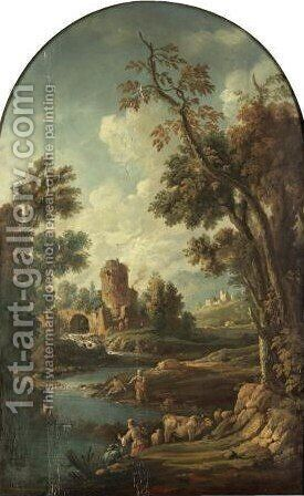 A Southern Landscape With Herders Fishing, A Waterfall Beyond by (after) Francesco Zuccarelli - Reproduction Oil Painting