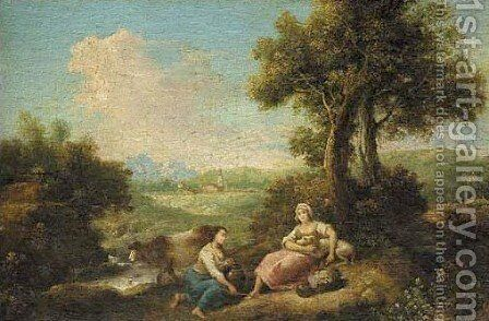 Shepherdesses in pastoral landscape by (after) Francesco Zuccarelli - Reproduction Oil Painting