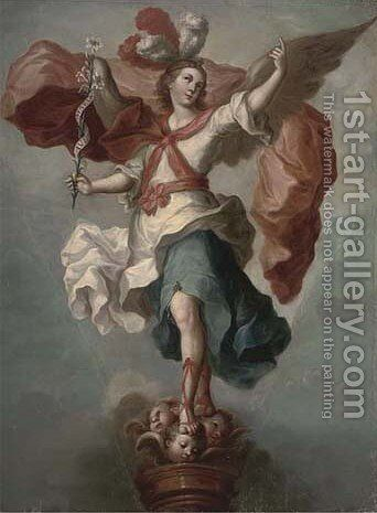 An angel holding a fish, a pilgrim's staff and wearing a cape with the scallo by (after) Francisco Menseses Osorio - Reproduction Oil Painting