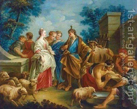 The Meeting of Jacob and Rachel at the Well by (after) Francois Boucher - Reproduction Oil Painting