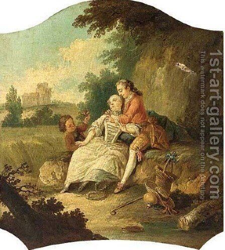 Elegant company in a landscape by (after) Francois Boucher - Reproduction Oil Painting