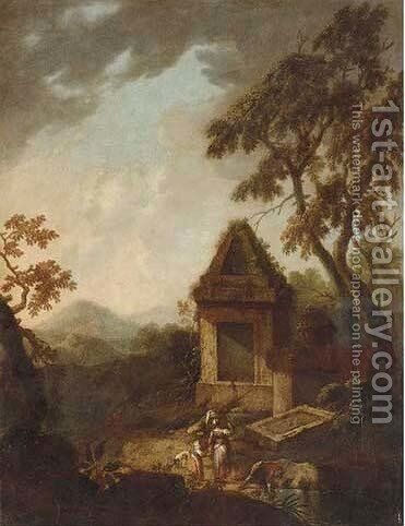 A Classical landscape with ruins and figures by a stream by (after) Franz Ferg - Reproduction Oil Painting