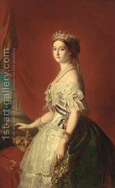 Portrait of Empress Eugenie (1826-1920) by (after) Franz Xaver Winterhalter - Reproduction Oil Painting