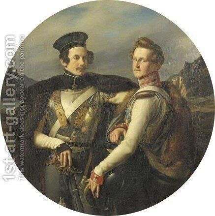 Portrait Of Friedrich Ludwig Prince Of Prussia (1794-1863) And Of His Half-Brother Wilhelm Prince Zu Solms-Braunfels (1801-1868), In 1830 by (after) Friedrich Wilhelm Von Schadow - Reproduction Oil Painting