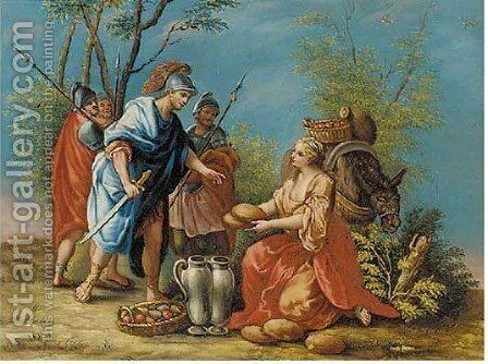 The Offering of Abigail by (after) Gaetano Zompini - Reproduction Oil Painting