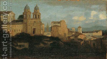 A view of SS. Trinita dei Monti, Rome by (after) Gaspard Dughet - Reproduction Oil Painting