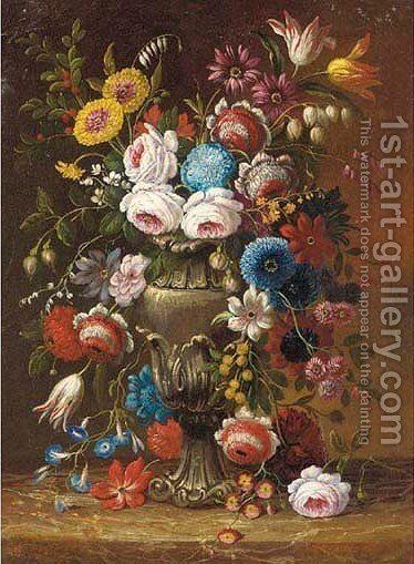 Roses, carnations, tulips, morning glory and other flowers on an urn on a marble ledge by (after) Gasparo Lopez - Reproduction Oil Painting