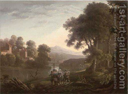 Travellers by a river with mountains beyond by (after) George Barret - Reproduction Oil Painting