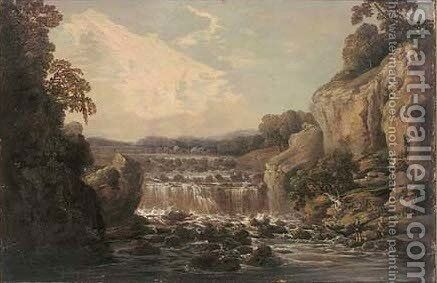Fishing before a waterfall by (after) George Barret - Reproduction Oil Painting