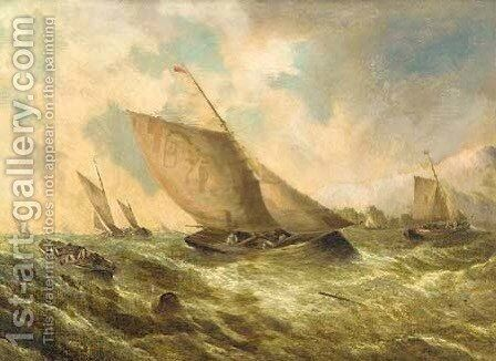 Fishing vessels in coastal waters by (after) George Knight - Reproduction Oil Painting