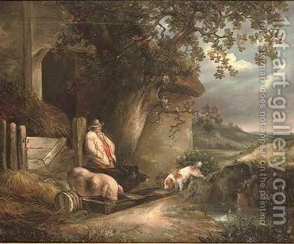 The pig farmer by (after) George Morland - Reproduction Oil Painting