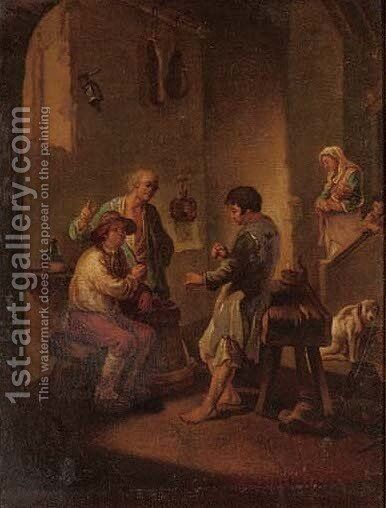 An animated discussion by (after) George Morland - Reproduction Oil Painting