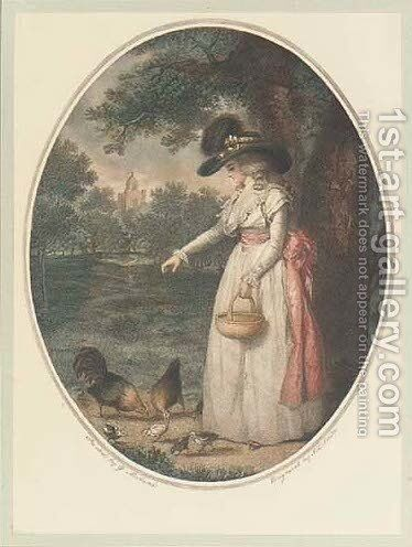 Feeding the Chickens by (after) George Morland - Reproduction Oil Painting