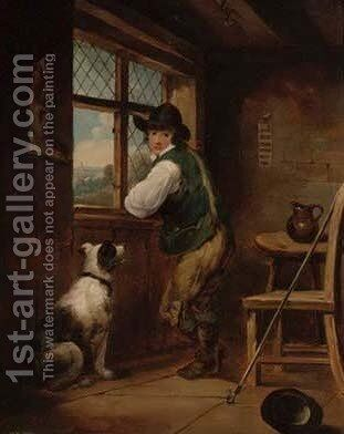 A young shepherd and his dog at an inn by (after) George Morland - Reproduction Oil Painting