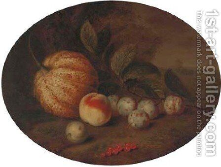 A melon, a peach, plums and berries in a landscape by (after) George William Sartorius - Reproduction Oil Painting