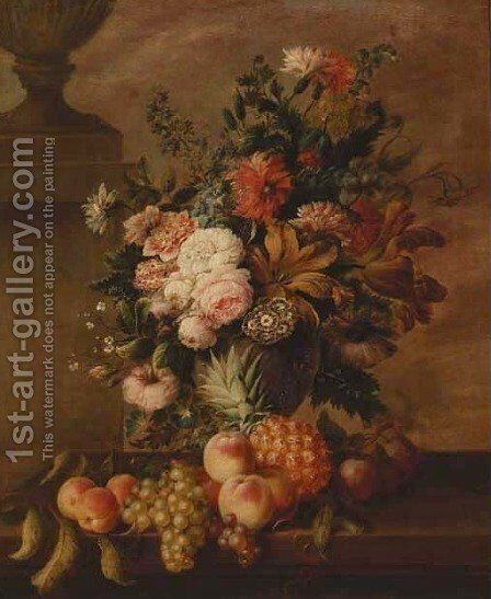 Roses, carnations, tulips, narcissi, morning glory and other flowers in an urn by (after) Georgius Van Os - Reproduction Oil Painting